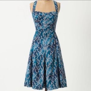 Anthropologie coral reef dress
